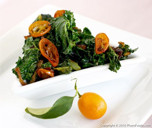 Kale with Caramelized Kumquats Recipe
