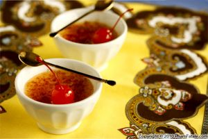 Cherry Creme Brulee with Stewed Cherries