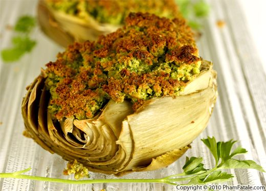 Baked Artichokes with Persillade Crust Recipe