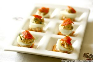 Mustard Deviled Quail Eggs with Smoked Salmon (Oeuf Mimosa Recipe)