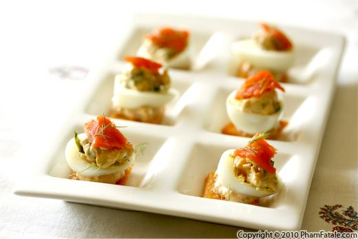 Mustard Deviled Quail Eggs with Smoked Salmon (Oeuf Mimosa Recipe) Recipe