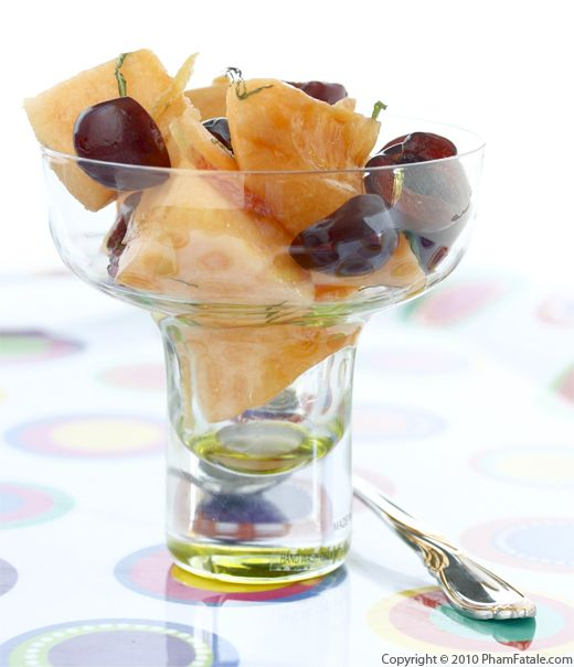 Cantaloupe and Cherry Fruit Salad with Maple Ginger Syrup Recipe