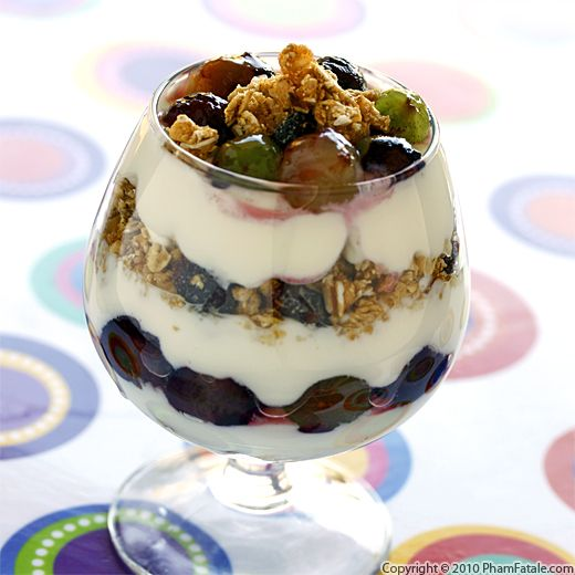 Fruit and Yogurt Parfait Recipe (Grapes and Granola Parfait) Recipe
