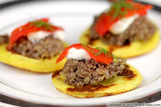 Potato Blini with Quinoa and Smoked Salmon Recipe