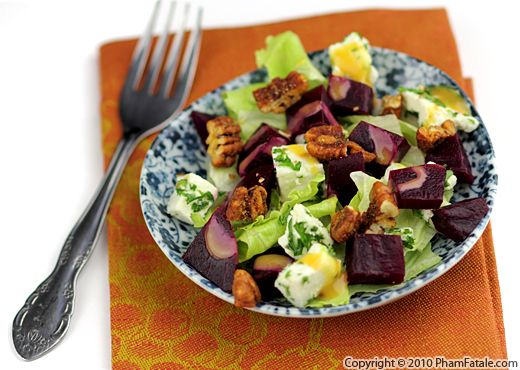 Roasted Beet Salad with Feta and Candied Pecans Recipe