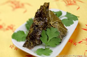 Vietnamese Stuffed Grape Leaves (Tau Hu Cuon La Nho)