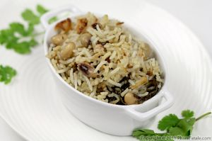 Indian Style Black Eyed Pea Rice (Pulao Recipe)