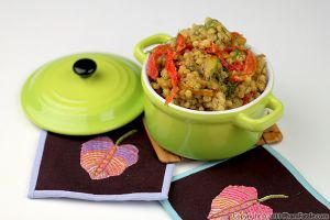 Israeli Couscous Risotto with Roasted Bell Peppers
