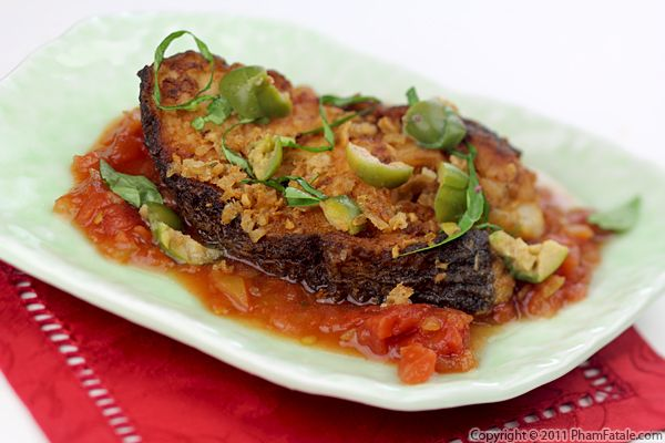 Turbot Fish in Tomato Sauce (Breaded Fish Recipe) Recipe