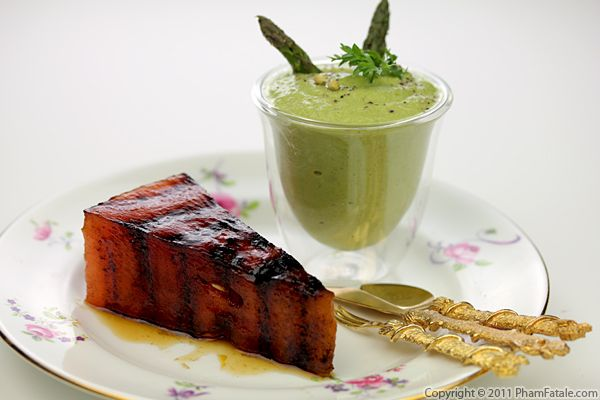 Cold Asparagus Soup with Grilled Watermelon Recipe