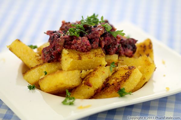 Fried Polenta with Raw Beet Sauce Recipe