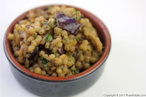 Eggplant Israeli Couscous with Pistachio Pesto