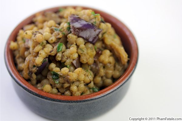 Eggplant Israeli Couscous with Pistachio Pesto Recipe