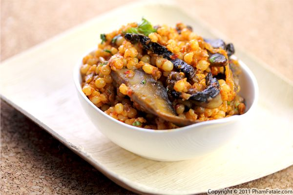 Portobello Mushroom Israeli Couscous with Truffle Goat Cheese Recipe