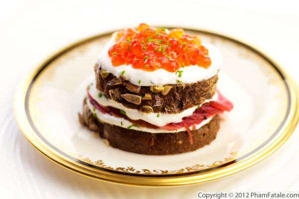 Caviar Tower with Beet Carpaccio Recipe