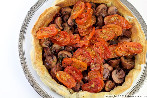 Crimini Mushroom Tart with Roasted Cherry Tomatoes Recipe