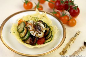 Vegetable Tian in Parmesan Cups