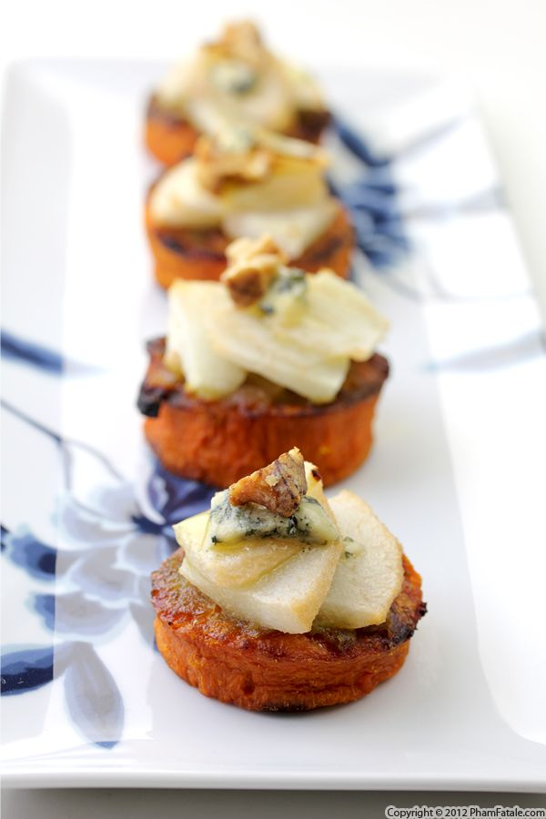 Pear Blue Cheese Yam Appetizers (Thanksgiving Recipe) Recipe