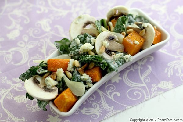 Roasted Butternut Squash and Raw Kale Salad Recipe Recipe