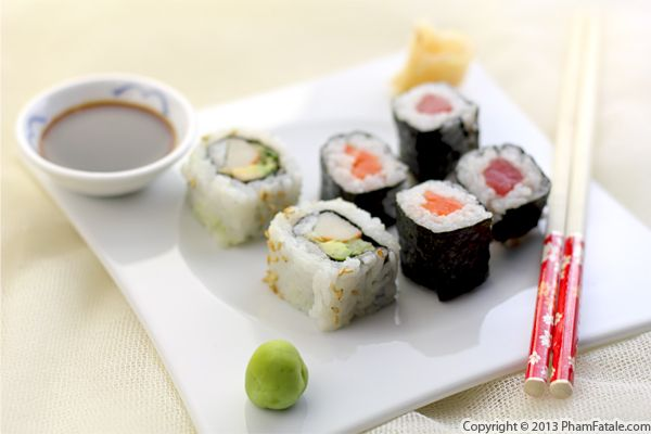California Sushi Rolls and Tuna and Salmon Sushi Recipe