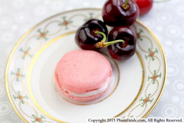 French Macarons flavored with Cherries  Recipe