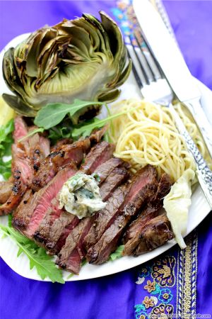 Sirloin Steak with Artichoke Butter