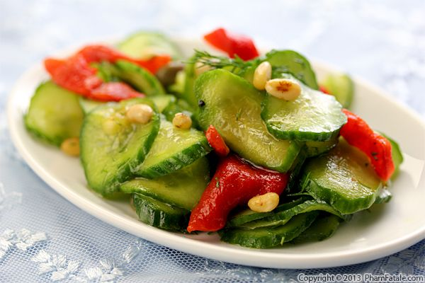 Roasted Bell Pepper and Cucumber Dill Salad Recipe