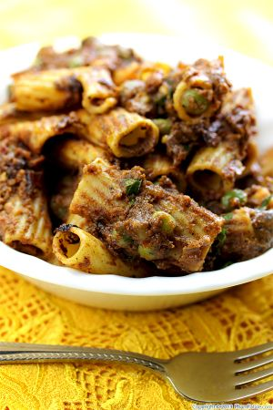 Rigatoni Pasta with Eggplant and Green Peas