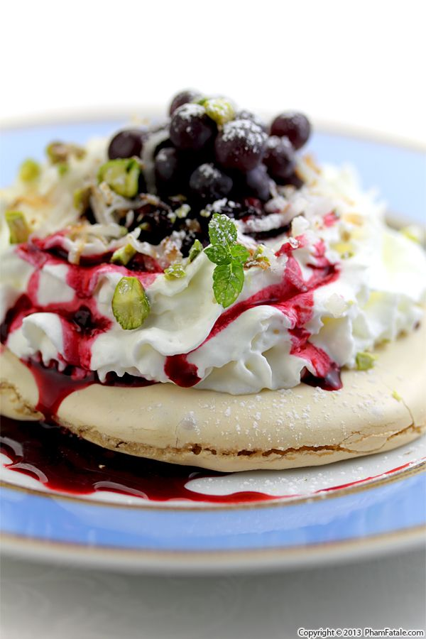 Mulberry Pavlova with Black Corinth Grapes Recipe