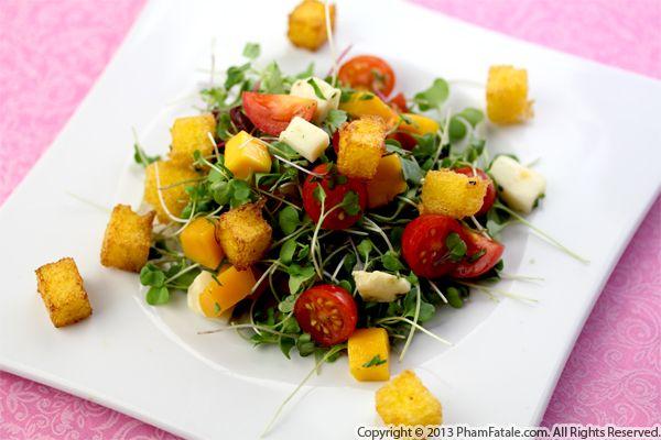 Polenta Crouton Salad Recipe Recipe