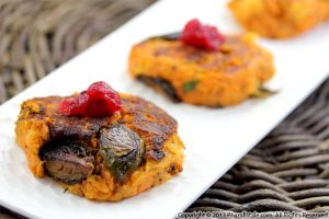 Yam Burgers with Roasted Brussels Sprouts
