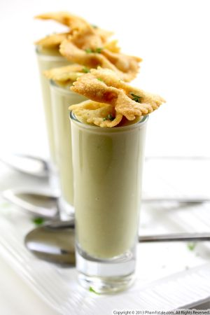 Pea Soup Topped with Pasta Chips