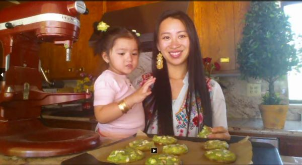 Pandan Pistachio White Chocolate Chip Cookies (Video) Recipe