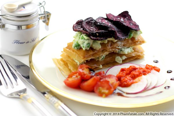 Beet Napoleon with Green Peas and Ricotta Cheese (Mille-Feuille de Betterave et Petits Pois) Recipe