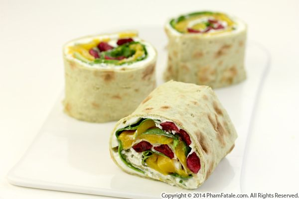 Peach and Spinach Summer Salad Wrap Recipe