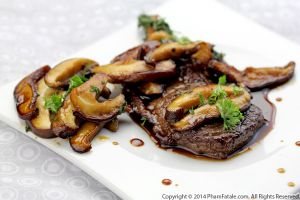 Rib-Eye Steaks with Mushroom Coffee Sauce