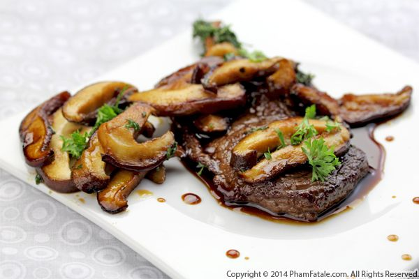 Rib-Eye Steaks with Mushroom Coffee Sauce Recipe