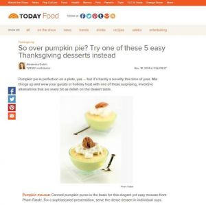 Thanksgiving Pumpkin Dessert Featured in TODAY