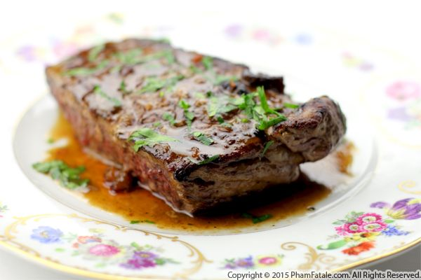 New York Steak with Maple and Riesling Wine Recipe
