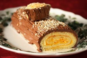 Mango and Coconut Yule Log Cake (Buche de Noel)